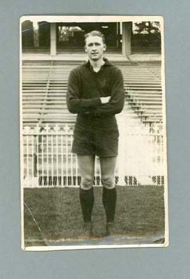 Black & white photograph of Donald Cordner, wearing Melbourne Football Club uniform