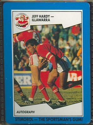 1989 Stimorol Rugby League Jeff Hardy trade card