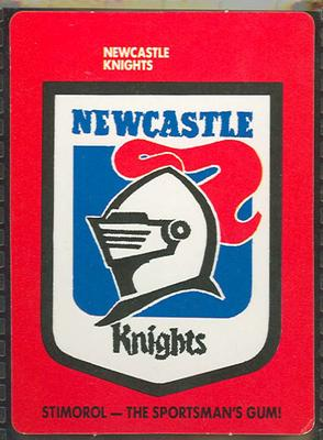 1989 Stimorol Rugby League Newcastle Knights trade card