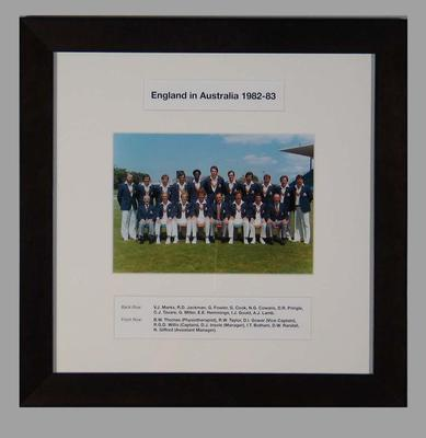 Photograph of England cricket team in Australia, 1982-83; Photography; M15279