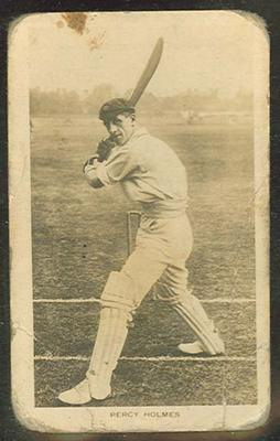 Trade card featuring Percy Holmes c1922