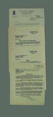 Correspondence between George Moir and Kent Hughes regarding 1956 Olympic Games