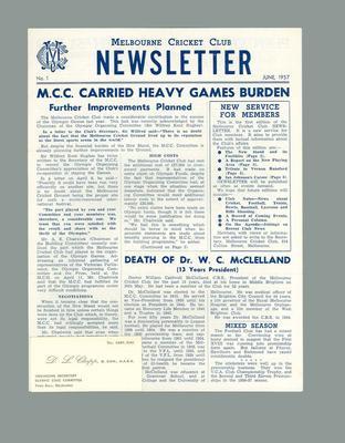 Melbourne Cricket Club newsletter no 1, June 1957