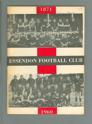 Booklet - Essendon Football Club, Season 1960