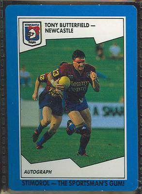 1989 Stimorol Rugby League Tony Butterfield trade card