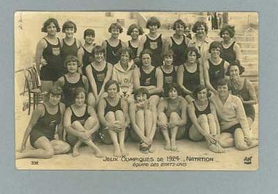 Postcard, image of United States female swim team - 1924 Paris Olympic Games