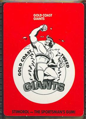 1989 Stimorol Rugby League Gold Coast Giants trade card