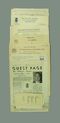 Correspondence related to 1956 Olympic Games