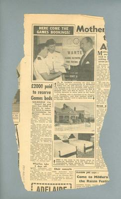 Newspaper article related to 1956 Olympic Games