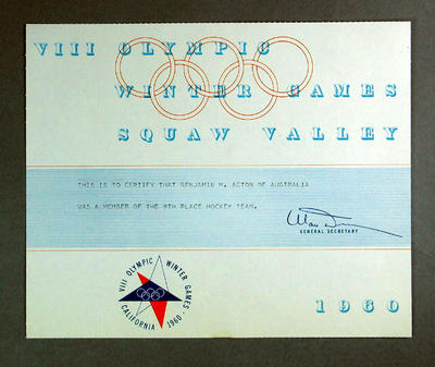 Certificate awarded to Ben Acton, VIII Olympic Winter Games - Ice Hockey