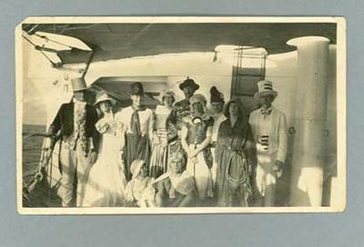 Photograph of fancy dress ball on board Ormonde, en route to 1924 Olympic Games
