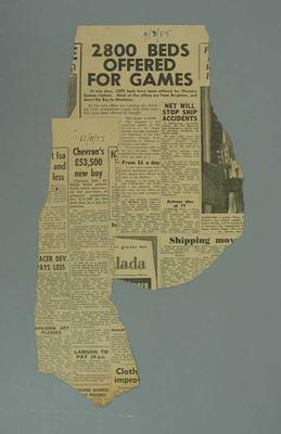 Newspaper clippings related to 1956 Olympic Games; Documents and books; 1987.1627.258.2