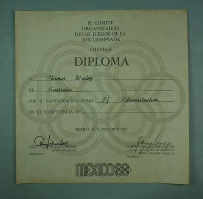 Diploma presented to Thomas Wigley, 1968 Mexico City Olympic Games; Documents and books; 1992.2582.1