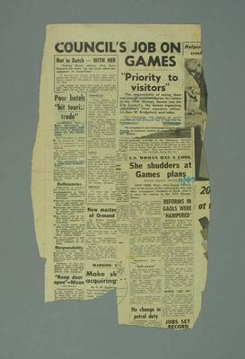 Newspaper clippings related to 1956 Olympic Games; Documents and books; 1987.1627.258.3