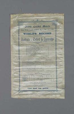 Score sheet for Australia v Oxford & Cambridge cricket match, 1893