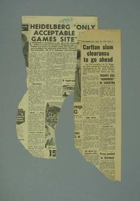 Newspaper clippings related to 1956 Olympic Games; Documents and books; 1987.1627.258.5