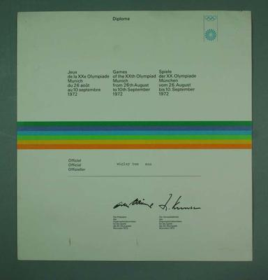 Diploma presented to Thomas Wigley, 1972 Munich Olympic Games
