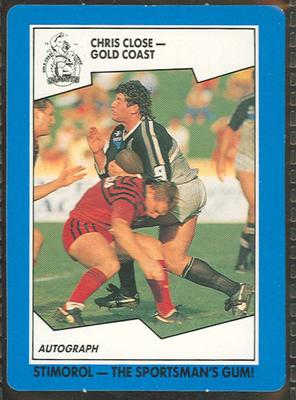 1989 Stimorol Rugby League Chris Close trade card