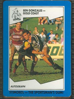 1989 Stimorol Rugby League Ben Gonzales trade card