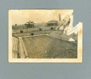 Photograph of a swimming pool, possibly in France c1924