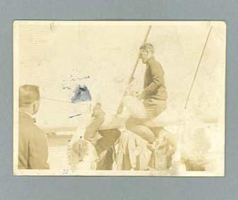 Photograph of Australian team members on board a ship, en route to 1920 Olympic Games