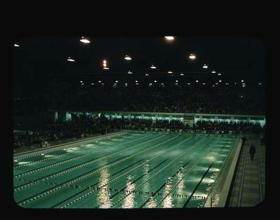 Transparency - 'Swimming Final Nights' taken by W. Ager at 1962 BE & CG, Perth