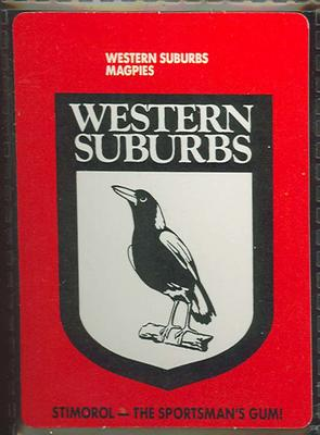 1989 Stimorol Rugby League Western Suburbs Magpies trade card