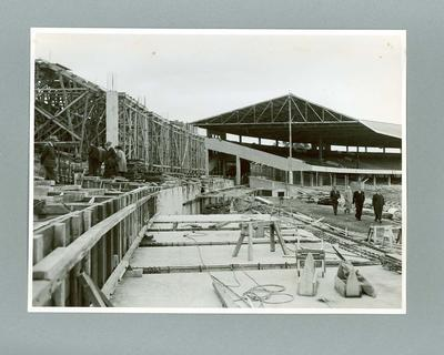 Photograph showing construction of 1956 Olympic Village