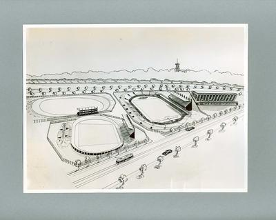 Photograph showing plan of Olympic Park for 1956 Olympic Games