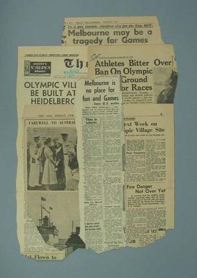 Newspaper clippings related to 1956 Olympic Games; Documents and books; 1987.1627.259
