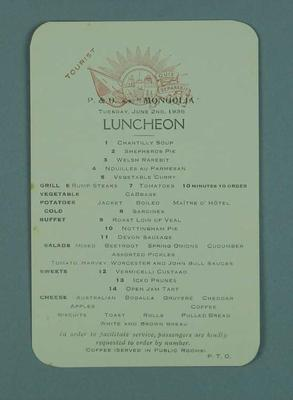 Menu card for the P&O SS Mongolia, 2 June 1936; Documents and books; 1986.1009.5