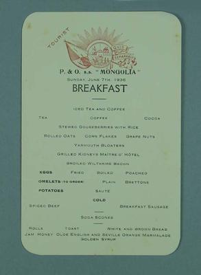 Menu card for the P&O SS Mongolia, 7 June 1936; Documents and books; 1986.1009.6