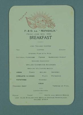 Menu card for the P&O SS Mongolia, 12 June 1936; Documents and books; 1986.1009.7