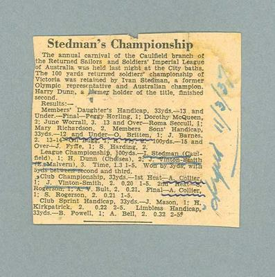 """Newspaper clipping, """"Stedman's Championship"""" - The Argus, 11 March 1937"""