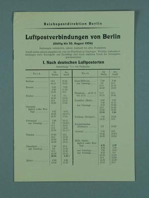 Timetable of air mail arrivals and departures from Berlin, during the 1936 Olympic Games