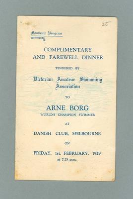 Programme, VASA Farewell Dinner to Arne Borg - 1 Feb 1929