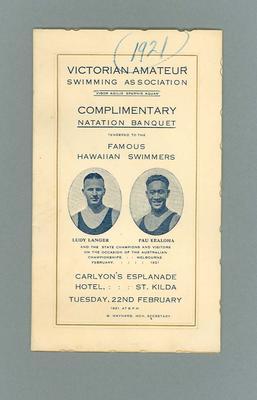 Programme, VASA Complimentary Banquet to Ludy Langer & Pua Kealoha - 22 Feb 1921