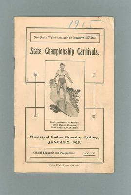 Programme, NSW Amateur Swimming Association State Championship Carnivals - Jan 1915