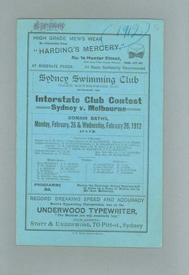 Programme, Sydney Swimming Club Interstate Club Contest - Sydney v Melbourne, Feb 1912