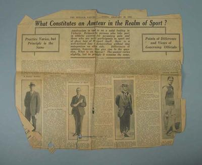 "Newspaper clipping, ""What Constitutes an Amateur in the Realm of Sport?"" - The Herald, 29 Jan 1921"
