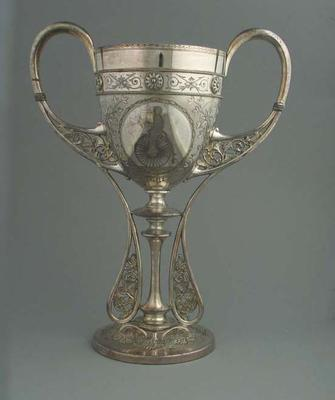 Trophy - Silver ornate cup with man on penny farthing bicycle engraving