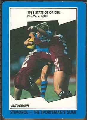 1989 Stimorol Rugby League State of Origin trade card
