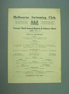 Annual report, Melbourne Swimming Club - 1916/17 season