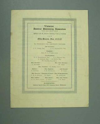 Annual report, Victorian Amateur Swimming Association - 1919/20 season; Documents and books; 1985.2.157