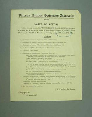 Notice of annual general meeting, Victorian Amateur Swimming Association - 6 Oct 1920; Documents and books; 1985.2.158