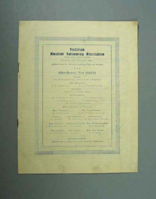 Annual report, Victorian Amateur Swimming Association - 1920/21 season; Documents and books; 1985.2.159