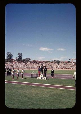Transparency - 'Pam Kilborn 1st, 80 Metre Hurdles', taken by William Ager, at 1962 BE & CG, Perth