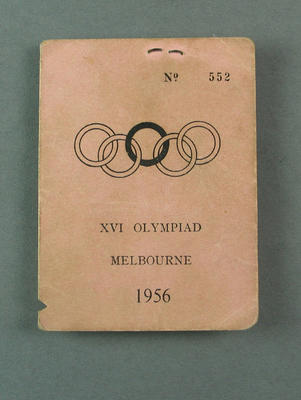 Broadcasters ID card, 1956 Olympic Games; Documents and books; 1987.1647