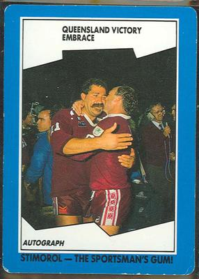 1989 Stimorol Rugby League Queensland Victory Embrace trade card; Documents and books; 1989.2131.152