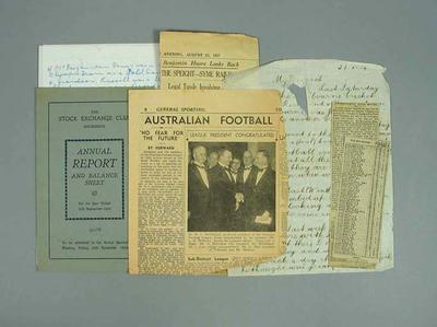 Miscellaneous letters and newspaper clippings related to George Moir, c1950s; Documents and books; Documents and books; 1987.1627.270